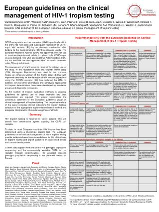 Recommendations from the European guidelines on Clinical Management of HIV-1 Tropism Testing