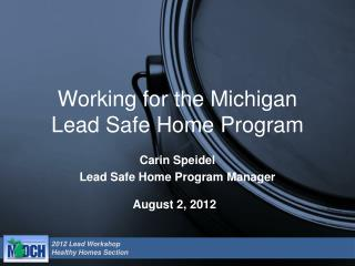 Working for the Michigan  Lead Safe Home Program