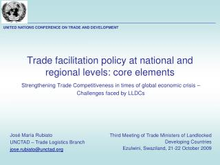 Trade facilitation policy at national and regional levels: core elements