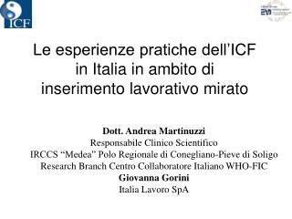 Le esperienze pratiche dell'ICF  in Italia in ambito di  inserimento lavorativo mirato