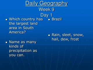Daily Geography Week 9 Day 1