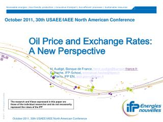 October 2011, 30th USAEE/IAEE North American Conference