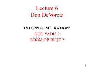 Lecture 6 Don DeVoretz