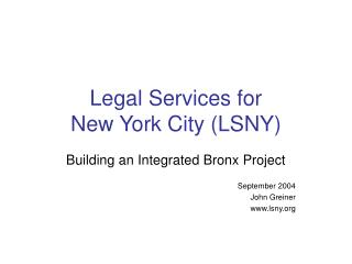 Legal Services for  New York City (LSNY)