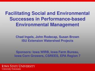Agricultural-Environmental Performance Issues