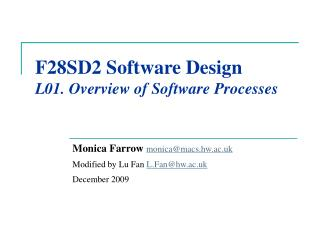 F28SD2 Software Design L01. Overview of Software Processes