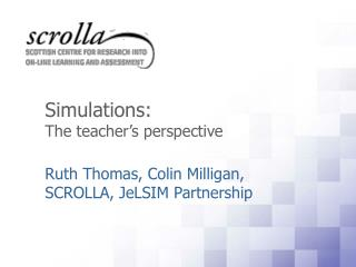 Simulations:  The teacher's perspective