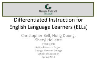 Differentiated Instruction for English Language Learners (ELLs)