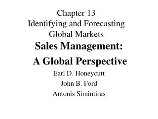 Chapter 13 Identifying and Forecasting Global Markets