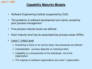 Capability Maturity Models