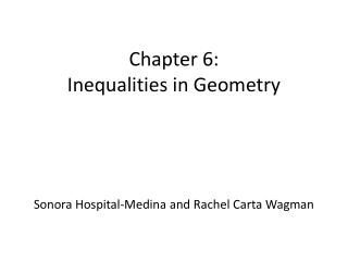 Chapter 6:  Inequalities in Geometry