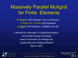 Massively Parallel Multgrid for Finite  Elements