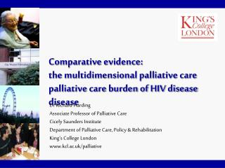 Comparative evidence:  the multidimensional palliative care burden of HIV disease