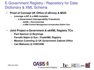 E-Government Registry / Repository for Data Dictionary & XML Schema