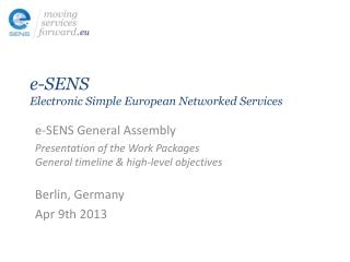 e-SENS Electronic Simple European Networked Services