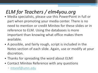 ELM for Teachers / elm4you