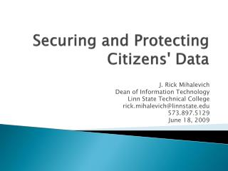 Securing and Protecting Citizens' Data