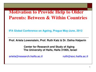 Motivation to Provide Help to Older Parents: Between & Within Countries