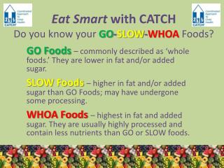 Eat Smart  with CATCH Do you know your GO - SLOW - WHOA  Foods?