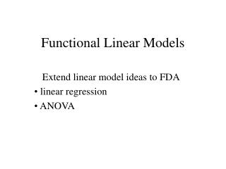 Functional Linear Models