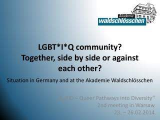 LGBT*I*Q community? Together, side by side or against each other?