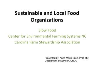 Sustainable and Local Food Organizations