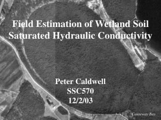 Field Estimation of Wetland Soil Saturated Hydraulic Conductivity Peter Caldwell SSC570 12/2/03