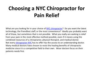 Choosing a NYC Chiropractor for Pain Relief