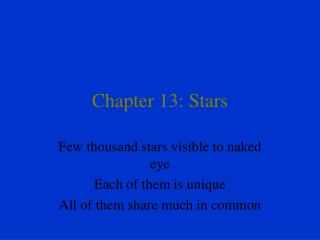 Chapter 13: Stars