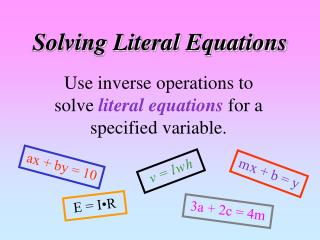Solving Literal Equations