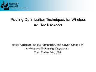 Routing Optimization Techniques for Wireless Ad Hoc Networks