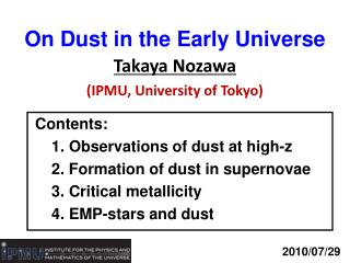 On Dust in the Early Universe