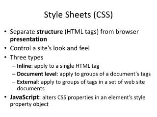 Style Sheets (CSS)