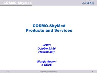 COSMO-SkyMed Products and Services