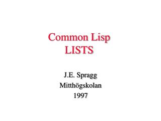 Common Lisp LISTS