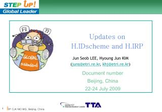 Updates on H.IDscheme and H.IRP