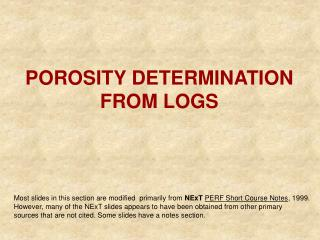 POROSITY DETERMINATION FROM LOGS