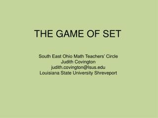 THE GAME OF SET