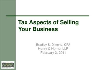 Tax Aspects of Selling Your Business