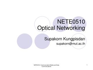 NETE0510 Optical Networking