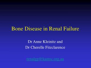 Bone Disease in Renal Failure