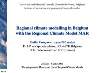 Regional climate modelling in Belgium with the Regional Climate Model MAR