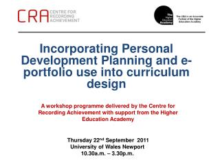 Incorporating Personal Development Planning and e-portfolio use into curriculum design
