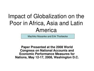 Impact of Globalization on the Poor in Africa, Asia and Latin America