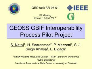 GEOSS GBIF Interoperability Process Pilot Project