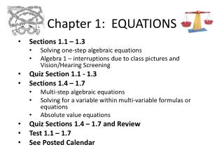 Chapter 1:  EQUATIONS