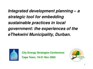 Integrated development planning – a strategic tool for embedding  sustainable practices in local