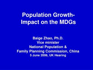 Population Growth-  Impact on the MDGs