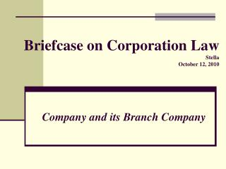 Briefcase on Corporation Law Stella October 12, 2010