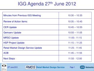 IGG Agenda 27 th  June 2012